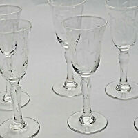 """Vintage Crystal Cordial Glasses Etched Bamboo Stemware Sherry Liqueur Glasses 4"""""""