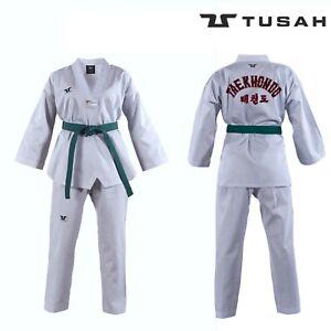 Tusah Adult WT Taekwondo Dobok Suit GI Uniform White V-Neck Embroidered Back