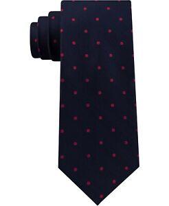 Tommy Hilfiger Men's Neck Tie Navy Blue Herringbone Polka Dot Slim Silk $69 420