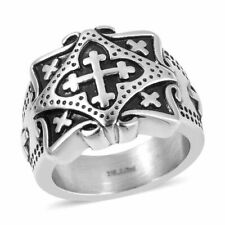 Oxidised stainless steel cross design signet ring size S (17.50gm)