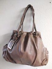 Womens B Makowsky Gray Taupe Leather Purse Handbag Shoulder Bag Satchel Lrg