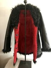 Ladies Vintage tripp NYC trench Coat Red Black Vinyl Goth size small