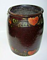 Antique Primitive Stoneware Crock Brown with Tole Painting