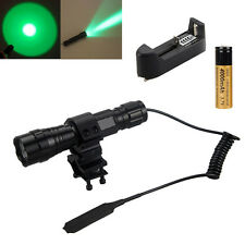 501B 5000Lumen  Green LED Tactical Flashlight Torch Mount+Pressure Switch+18650