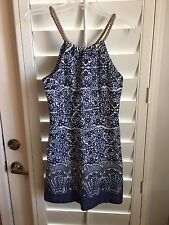 """Pearl Southern Couture Blue/White """"BOCA DRESS"""" Halter Dress 100% Cotton CUTE! S"""