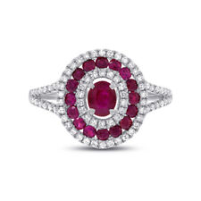 14K White Gold Ruby Diamond Oval Ring Cocktail Womens 1.35 TCW Gemstone Natural