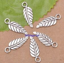 Wholesale 30pcs Tibetan Silver Double sided Charm leaves Pendants 18mm A3052
