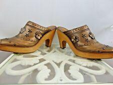 "Via Spiga Mules Woman Size 9M 4"" Wood Heel Rubber Bottom Beautiful!!!! Gold VGUC"