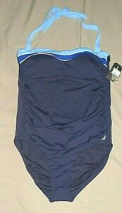 NAUTICA Navy Blue Halter Slimming Swimsuit Rouched Sides Padded Cups XL NEW