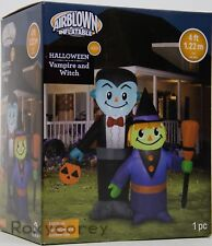 Halloween Gemmy 4 ft Lights Up Vampire & Witch Airblown Inflatable NIB