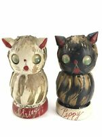 Napco Japan Wooden Salty & Peppy Kitty Cats Salt and Pepper Shakers Vintage 4""