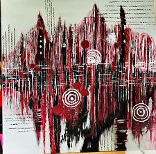 Acrylbild auf Leinwand, Skyline, Grau, Schwarz, Weiß, Rot, Beere, Unikat