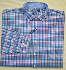 New 6XB 6XL BIG 6X POLO RALPH LAUREN Men button down dress shirt blue pink plaid