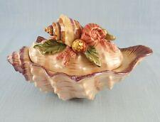 Fitz and Floyd Oceana Condiment/Candy Jar Trinket Box Lid Sauce Bowl Seashells
