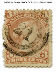 0104: Canada, 1868-76 QV Scott #25 - SG49 3c Used