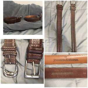 Johnston & Murphy Lot Of 2 Men's Belts Size 44 Brown Tan Leather Silver Buckle