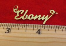 "14KT GOLD EP ""EBONY"" PERSONALIZED NAME PLATE WORD CHARM PENDANT 6116"