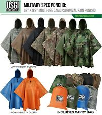 USGI Industries Military Spec Multi-Use Rip Stop Rain Poncho (Colors Available)