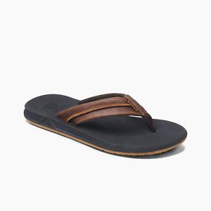 Reef Men's Leather Element TQT Flip Flops  - Black/Brown NWT