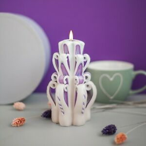 handmade candle 6 inch / 15 cm - carved candles - handmade gift