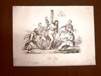 Incisione d'allegoria e satira Italia sotto assedio del nemico Don Pirlone 1851