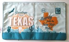 Qiyao TEXAS Lone Star STATE POSTCARD APPLIQUE EMBROIDED PILLOW COVER 14 x 24 New