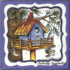 WINTER PINE TREE BIRDHOUSE BIRDS Wood Mounted Rubber Stamp NORTHWOODS PP9857 New