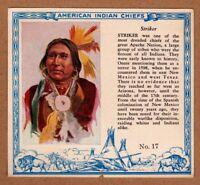 1952 Red Man American Indian Chiefs #17 / Striker / Apache / T129