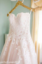 Lace White/Ivory/Pink A-Line Bride Wedding Dress Bridal Gown Custom Size 4-26+