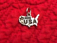 925 Sterling Silver USA United States Map Charm for Bracelet or Necklace