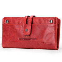 Women Vintage Genuine Leather Long Trifold Wallet Money Card Holder Clutch Purse