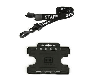 ID Card Name Pass Badge Holder Double Sided and Staff Lanyard Neck Strap for NHS