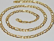 """9ct Yellow Gold on Silver 20"""" Figaro Curb Chain / Necklace - 17.0 grams"""