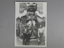 Vintage Photo 1950's Two Rockabilly Guys Pose w Totem Pole alaska
