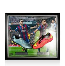 Framed Lionel Messi Signed Adidas 15.4 Boot & Neymar Jr Signed Nike Boot In Barc