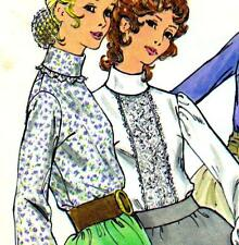 """EASY Vintage 70s BLOUSE Sewing Pattern Bust 32.5"""" Sz 8 RETRO Victorian LACE Top"""