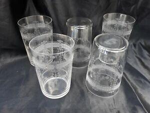 Serie 5 verres cristal gravé d'époque 19ème gobelet crystal XIXème Baccarat