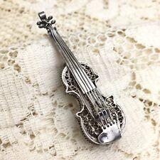 Vintage Sterling Silver Filigree Violin Pin 925 Brooch Musical Instrument Fiddle