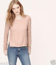 NWT ANN TAYLOR LOFT Lace Edge Sweater Jewel Neck Top PETAL PINK SIZE XL 354362