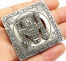 Aztec God Brooch Pin - Bp2248 Peru 925 Sterling Silver - Vintage Antique
