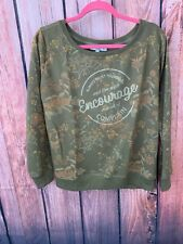 "CKH  Clockhouse Juniors XL Khaki Green Floral "" Encourage""  Sweatshirt"