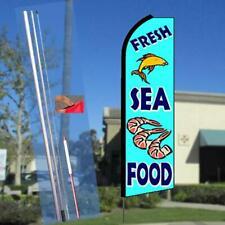 Fresh Seafood Flutter Feather Flag Kit Bundle (Flag, Pole, & Ground Mount)