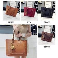 Women's Large Designer Style PU Leather Tote Bag Fringe Messenger Shoulder Bag