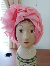 New listing Vintage Joseph Magnin pink floral ladies hat made in Usa
