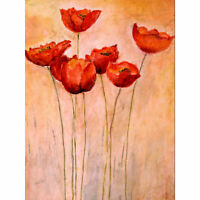Flower Red Poppies Painting Large Wall Art Print Canvas Premium Poster