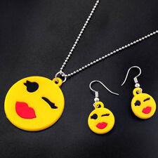 Neclace &Earrings Set  Yellow Cute Emoji Face Red Lip Charm Rubber Pendant Women