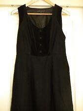 LAURA ASHLEY BLACK VELVET WOOL (60%) DRESS/PINAFORE-SIZE 12  EUC