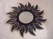 Sonnenspiegel, Feng-Shui-Spiegel, Spiegel, Ø 40cm, Holzrahmen, grün mit gold