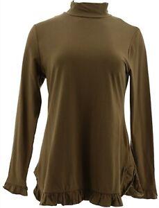 Isaac Mizrahi Mock Neck Knit Tunic Ruffle Hem Desert Green S # A345573