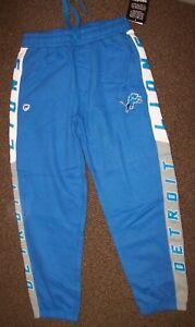 DETROIT LIONS Sweat Pants THICK with sewn LIONS Logo BLUE LARGE